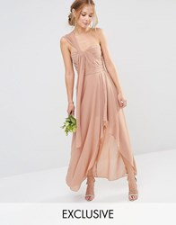 Tfnc Wedding Drape One Shoulder Maxi Dress Taupe