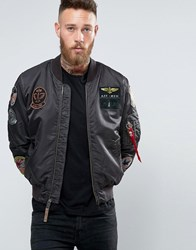Alpha Industries Ma 1 Bomber Jacket With Patches In Black Slim Fit B