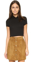 Lanston Ribbed Short Sleeve Cropped Tee Black