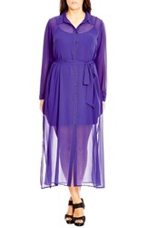City Chic Plus Size Women's 'Longline Lady' Chiffon Maxi Shirtdress Iris