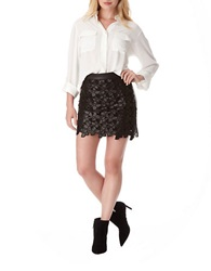 Sam Edelman Emma Floral Faux Leather Mini Skirt Black