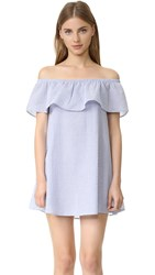 Minkpink French Twist Off Shoulder Dress Blue White