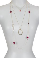 Charlene K 14K Gold Vermeil Ruby Accented Necklace Set Metallic