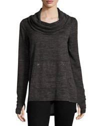 Neiman Marcus Long Sleeve Cowl Neck Top Black Gray