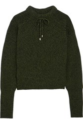 Topshop Unique Feldon Wool And Cashmere Blend Sweater Forest Green