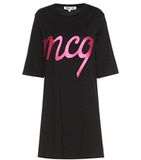 Mcq By Alexander Mcqueen Embroidered Cotton T Shirt Dress Black