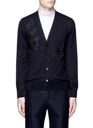 Alexander Mcqueen Butterfly Embroidery Wool Silk Cardigan Black