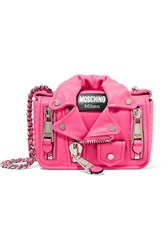 Moschino Embellished Neon Leather Shoulder Bag Pink