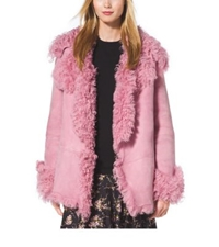 Michael Kors Cropped Shearling Coat Oleander
