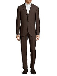 Brunello Cucinelli Wool And Silk Blend Two Piece Suit Brown