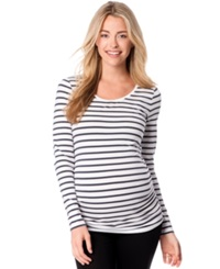 Motherhood Maternity Bumpstart Maternity Long Sleeve Scoop Neck Tee Two Pack Azalea White Grey