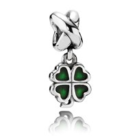 Pandora Design Sterling Silver And Enamel Clover Dangle Charm