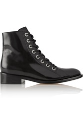 Maje Godillot Lace Up Leather Boots Black