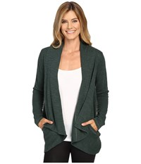 Lucy Tranquility Slub Wrap Deep Forest Heather Women's Sweater Olive