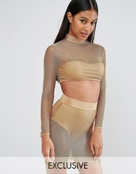 Naanaa Metallic Sheer Crop Top Gold