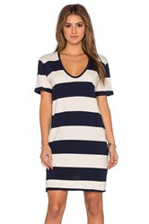 Stateside Large Rugby Stripe Short Sleeve Mini Dress Navy