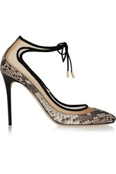 Jimmy Choo Tyler Suede Trimmed Python And Mesh Pumps Snake Print