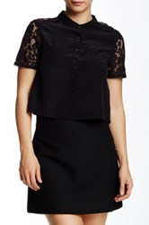 Rebecca Taylor Short Sleeve Silk And Lace Crop Top Black