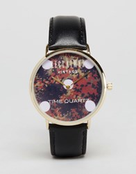Reclaimed Vintage Polkadot Camo Watch In Leather Black