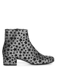Saint Laurent Babies Star Embellished Glitter Ankle Boots Black Silver