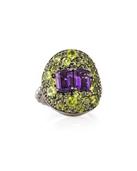 Peridot And Amethyst Silver Ring Stephen Dweck Purple