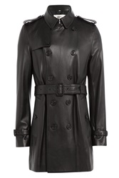 London Leather Trench Coat Black