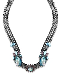 Bar Iii Hematite Tone Zig Zag Chain Blue Stone Flower Necklace