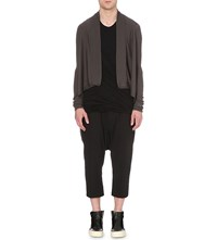 Rick Owens Dropped Hem Knitted Cardigan Drk Dust