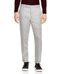 Carven Slim Fit Flat Front Wool Pants Grey