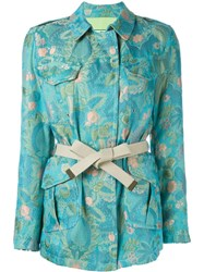 Etro Floral Print Belted Jacket Green