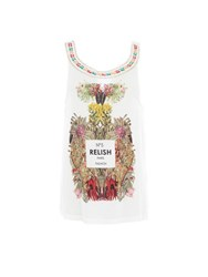 Relish Floral Embellished Tank Top White