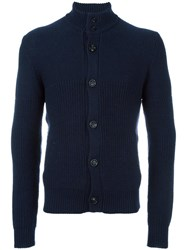 Drumohr High Neck Ribbed Cardigan Blue