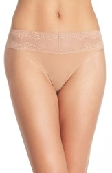 Women's Natori 'Bliss Perfection' Thong Brown 3 For 45 Caramel