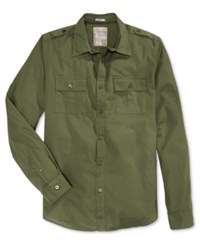 Guess Men's Long Sleeve Laguna Military Shirt Black Forest Multi