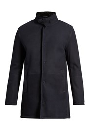 Giorgio Armani Close Neck Shearling Overcoat Navy