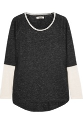 Madewell Kim Color Block Slub Linen Jersey Top