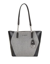 Karl Lagerfeld Leather Accented Wool Tote Wool Combo