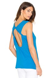 Bobi Cotton Slub Open Back Tank Blue