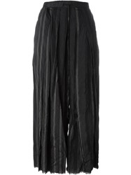 Lost And Found Accordian Pleated Cropped Trousers Black