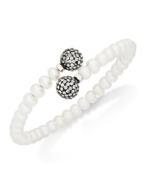Honora Style Cultured Freshwater Pearl 7Mm And Grey Crystal Coil Bracelet In Sterling Silver