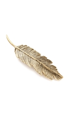 Pluie Feather Barrette Gold