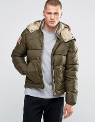 Denim And Supply Ralph Lauren Padded Jacket With Down Fill Hood In Green Green