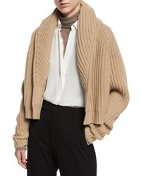 Vince Cropped Cable Knit Cardigan Caramel