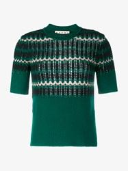 Marni Wool Blend Knit Short Sleeve Top Black Green Peach White