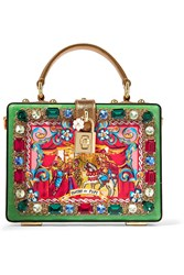 Dolce And Gabbana Carretto Crystal Embellished Printed Patent Leather Clutch