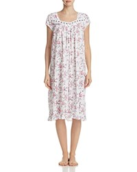 Eileen West Short Sleeve Knit Waltz Gown White Ruby Multi Floral