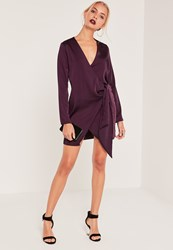 Missguided Silky Wrap Tie Waist Shirt Dress Purple
