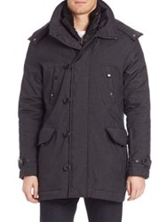 Tumi Twill Textured Zip Front Jacket Charcoal