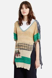Vivienne Westwood Unisex Leebo Two Way Short Sleeve Sweater Natural Green Blue A
