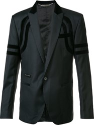 Philipp Plein One Button Blazer Black
